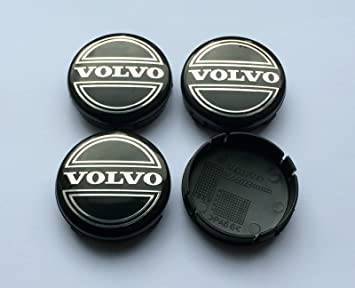 Juego de 4 tapacubos para llantas de aleación con logo - Tamaño: 64 mm - Color: negro: Amazon.es: Coche y moto