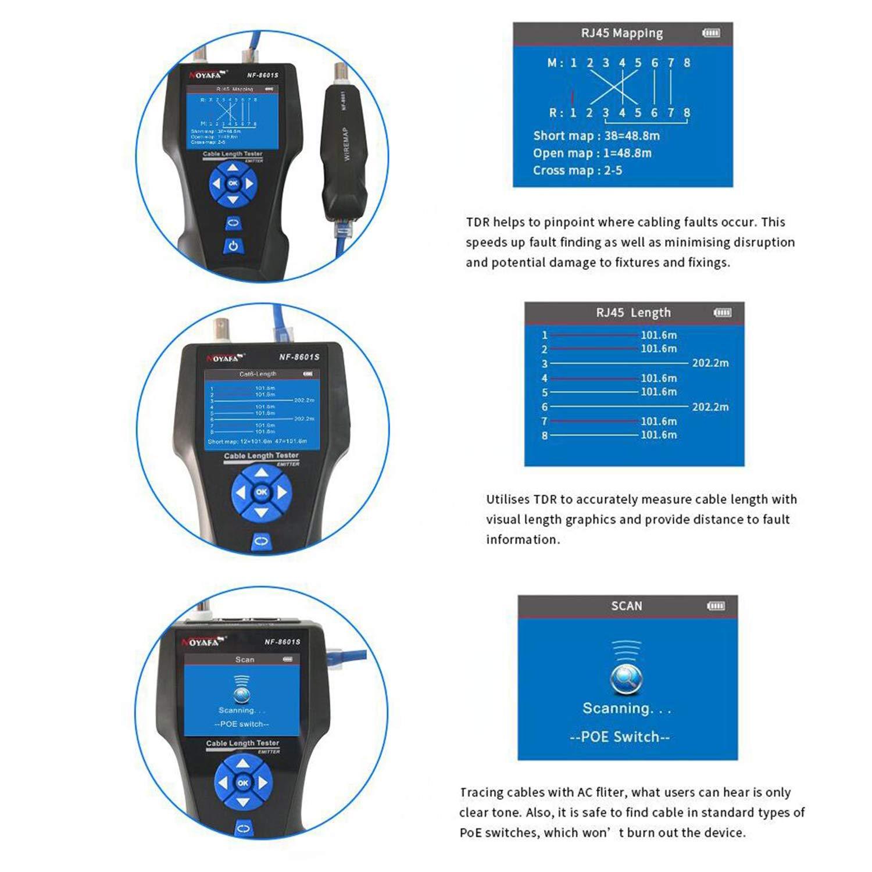 Noyafa Nf-8601s TDR multifonction LCD testeur de c/âble r/éseau Fil tracker pour RJ45 Ping//PoE c/âble en m/étal BNC RJ11