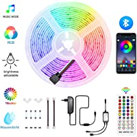 HoMii Bluetooth LED strip 5m - RGB LED Strips Sync met muziek, IP65 waterdicht 150 LED 5050 SMD kleurverandering LED strip, Smart Bluetooth controller + 40 toetsen afstandsbediening