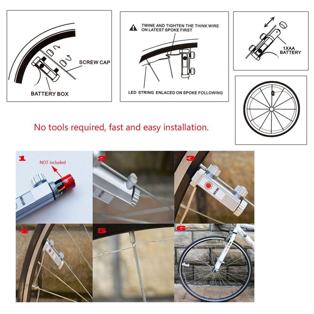 Facethoroughly 2 Pcs Roue Lumi/ères 20 LED V/élo Bicyclette Roues Feux de Jante Imperm/éable Guirlandes Lumineuses D/écoratives