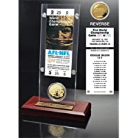 """$58 » NFL Green Bay Packers Super Bowl 1 Ticket & Game Coin Collection, 12"""" x 2"""" x 5"""", Black"""