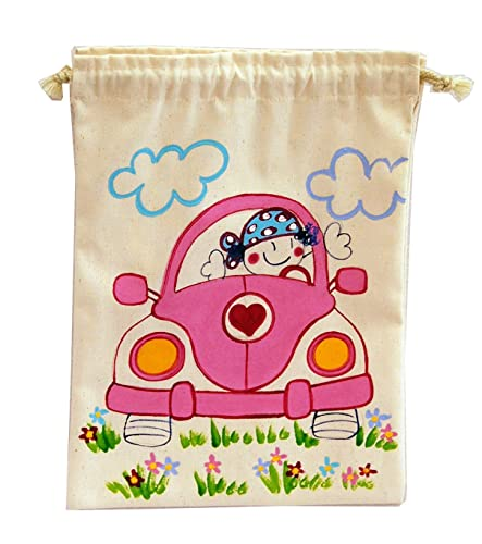 Saco de merienda personalizado coche niña
