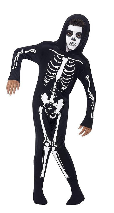 Smiffys Smiffys-55012S Disfraz de Esqueleto, con Traje Entero con Capucha, Color Negro, S - Edad 4-6 años 55012S