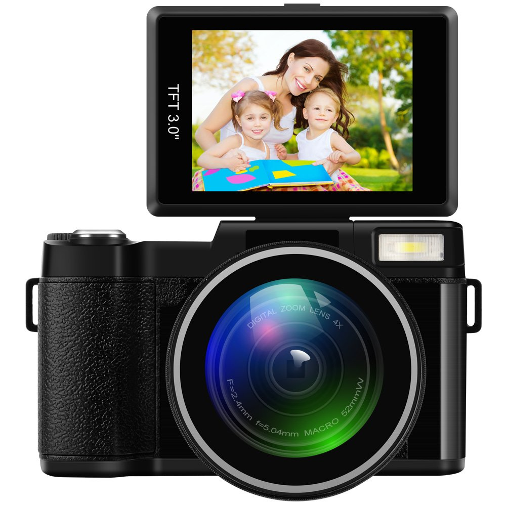 Digital Camera Camcorder Full HD 1080P 24Mp Flip Screen Video Camera 3.0 Inch LCD 4x Digital Zoom Wide Angle Lens Vlogging Camera with Wrist Strap