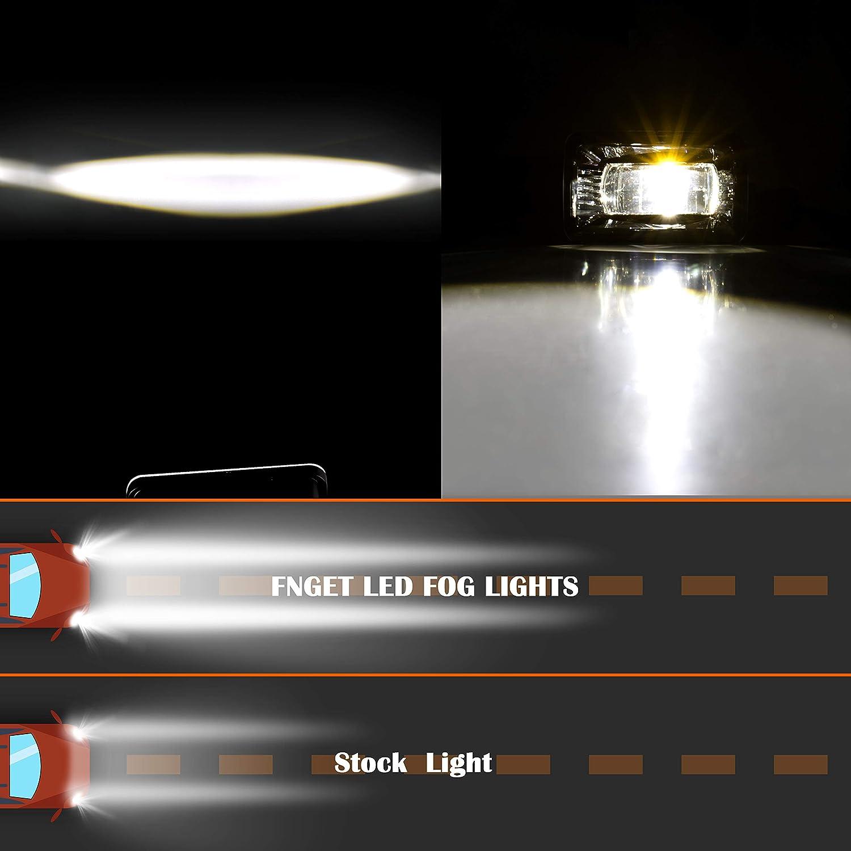 FNGET F150 Fog Lamps Compatible with 2017-2018 Super Duty 2015-2019 Ford F-150 Rectangular Fog Light Assembly Kit 2PCS 4/'/' LED Fog Lights