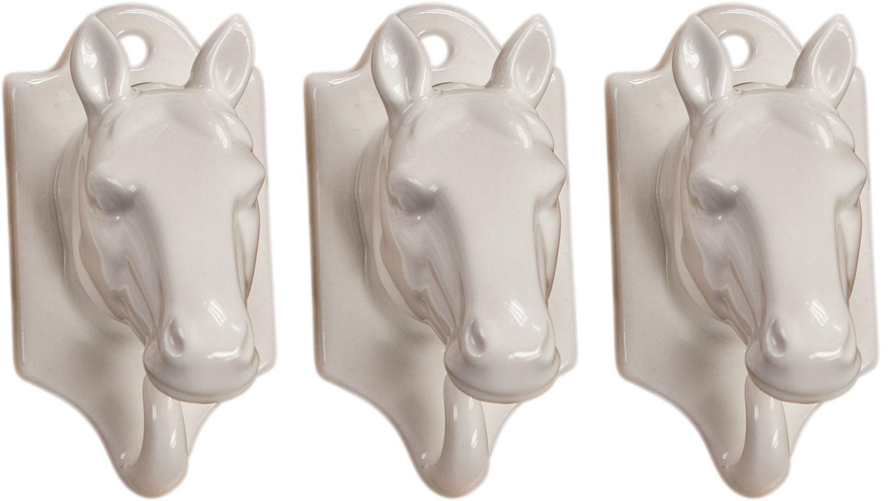 Manual White Horse Ceramic Kitchen Towel Hooks Hanging Wall Art ICWHHH 4x2.25'' Set of 3 White