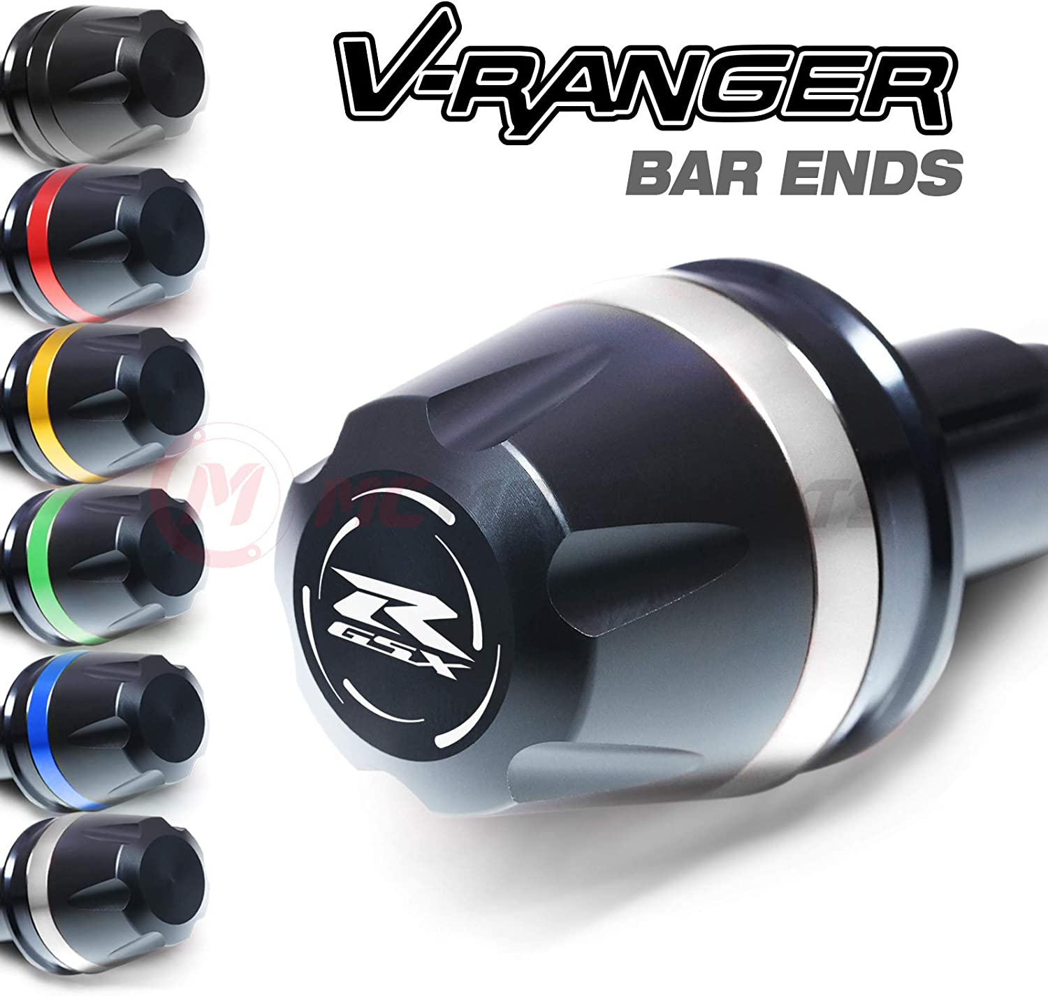 MC Motoparts V-RANGER CNC Bar Ends Sliders Logo For Suzuki GSX-R GSXR 600 750 96-19 17 18 GSX-R 1000 K1-K9 L1-L9 Black