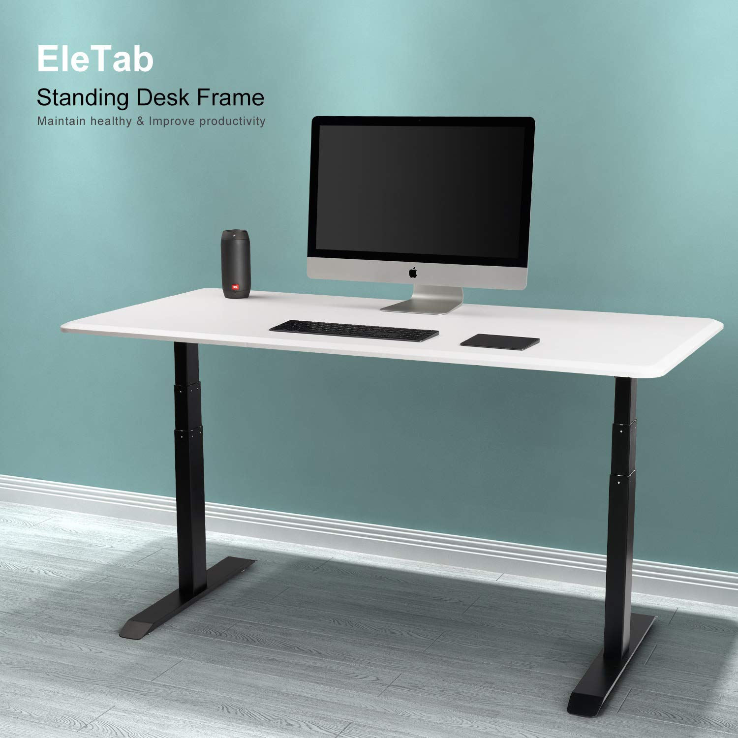 Electric Stand up Desk Frame – EleTab Dual Motor Height Adjustable Ergonomic Sit Stand Desk Base Workstation with 3 Stage Up Lifting Legs Black Frame only