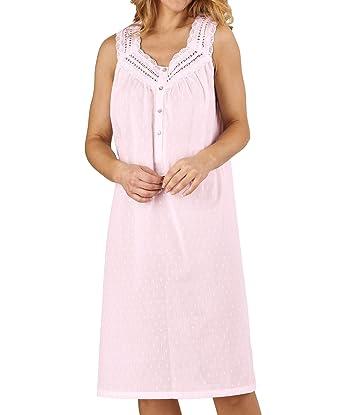 8dddb0ca59 Slenderella Ladies 100% Cotton Dobby Dot Nightdress Sleeveless Broderie  Trim Nightie UK 20 22 (Pink)  Amazon.co.uk  Clothing