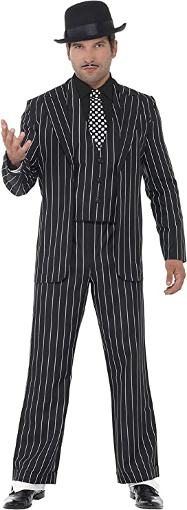 "Smiffys- Disfraz de jefe gánster vintage, con chaqueta, corbata, chaleco y pechera de camisa, pantalones, Color negro, XL - Tamaño 46""-48"" (Smiffy's 23042XL) , color/modelo surtido"