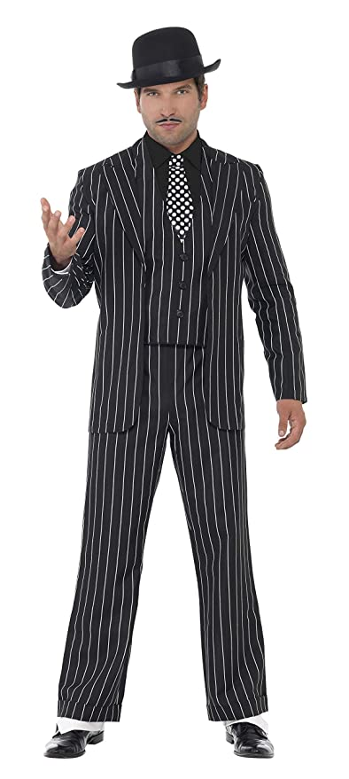Smiffys Smiffys- Disfraz de Jefe gánster Vintage, con Chaqueta, Corbata, Chaleco y Pechera de Camisa, Pantalones, Color Negro, XL - Tamaño 46