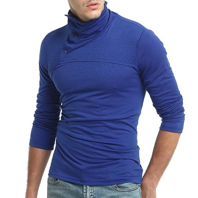 Otoño de Color Puro de los Hombres de Manga Larga Choker Sudaderas con Capucha Top Blusa por Internet: Amazon.es: Ropa y accesorios