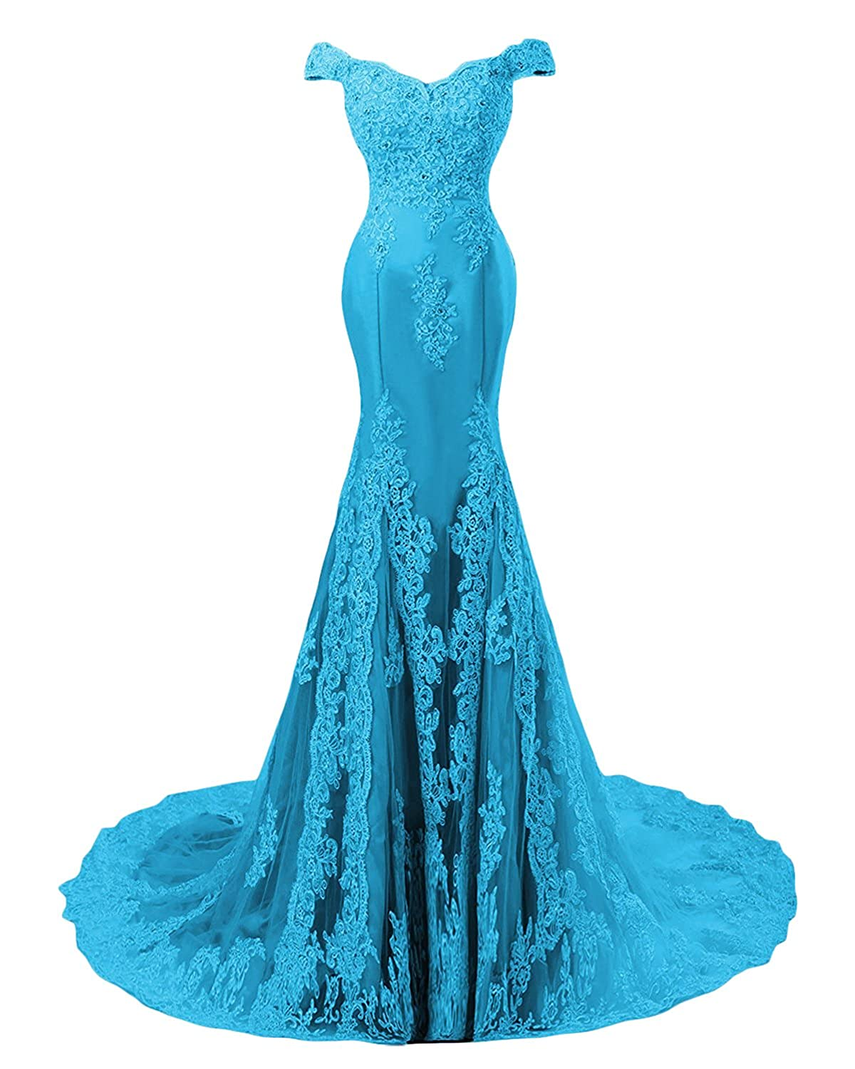 bluee M Bridal Women's Crystals Lace Appliques OfftheShoulder Mermaid Evening Dress