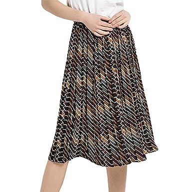 19e9731fd3ae YuanDian Femme été Casual Boheme Style Mi Longue Plissée Jupe Taille  Elastique Fluides Swing Trapèze Midi