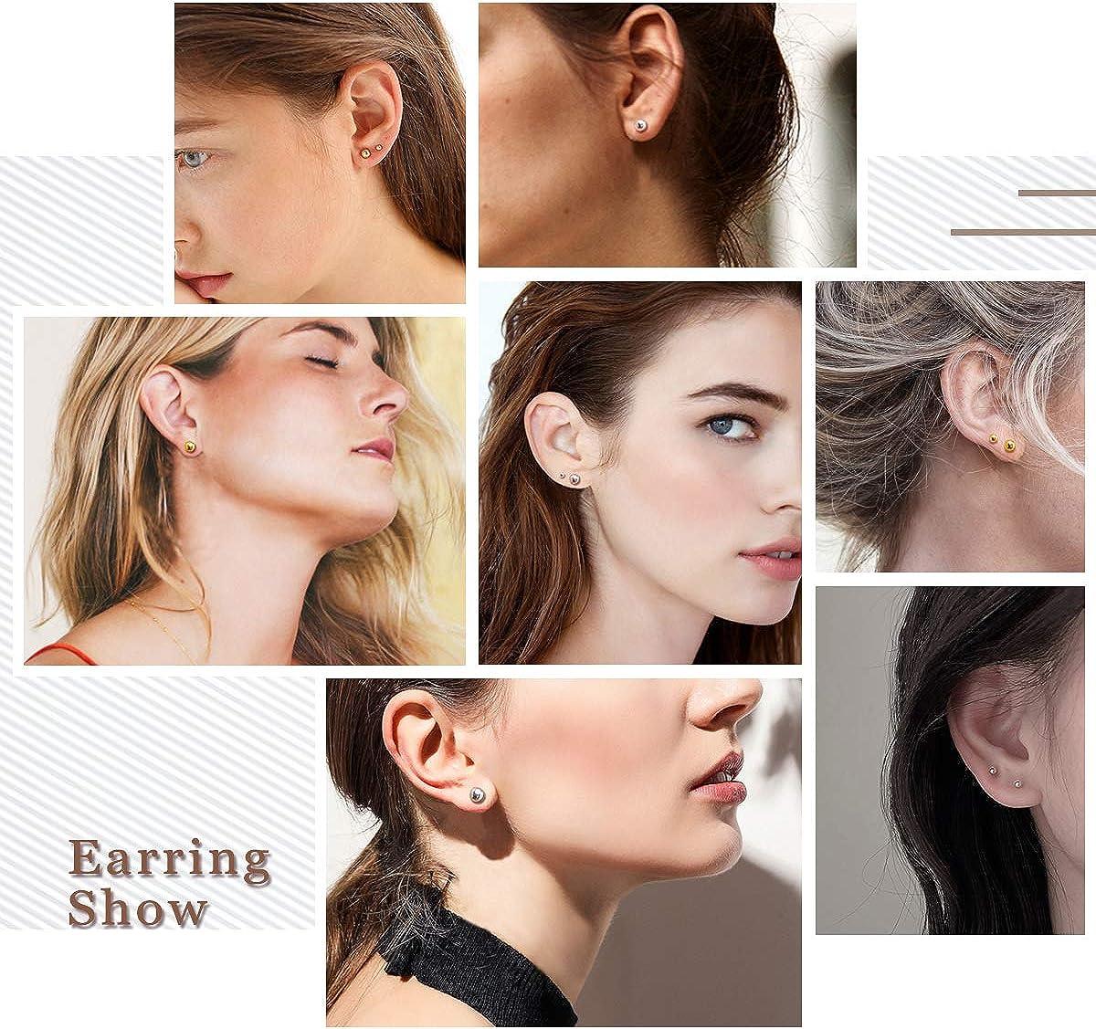925 Sterling Silver Ball Stud Earrings for Women Men Girls Multiple Piercing Earring Set Round Tiny Large Studs for Sensitive Ear Hypoallergenic 3 pair, 3,5,7mm
