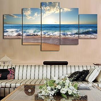 Amazon.Com: Modern Landscape Painting On Canvas 5 Piece, Beach