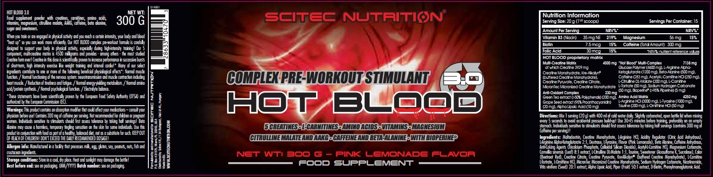Amazon.com: Scitec Nutrition Hot Blood 2.0 - Pink Lemonade 300g: Health & Personal Care