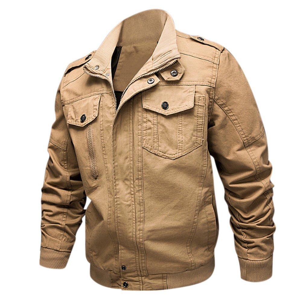 DSstyles Men Outdoor Overcoat Cotton Casual Loose Warm Solid Color Jacket Tops