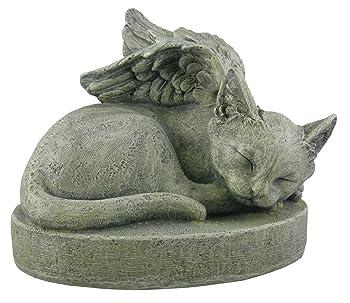 sleeping cat angel statue on platform