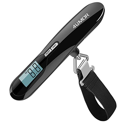 Electronic Luggage Scale , 4UMOR Portable Digital Suitcase Hanging Scales with Tare Function Weighing Scale With Backlit Display for Travel/Outdoor/Home Use, 110 lb/ 50 KG Capacity Black