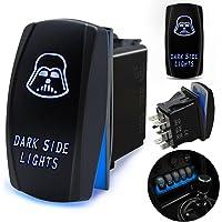 FABOOD F Waterproof 5 Pin Dark Side Lights Rocker Switch Laser SPST ON/Off Two LED Backlit Blue Light 20A 12V for…