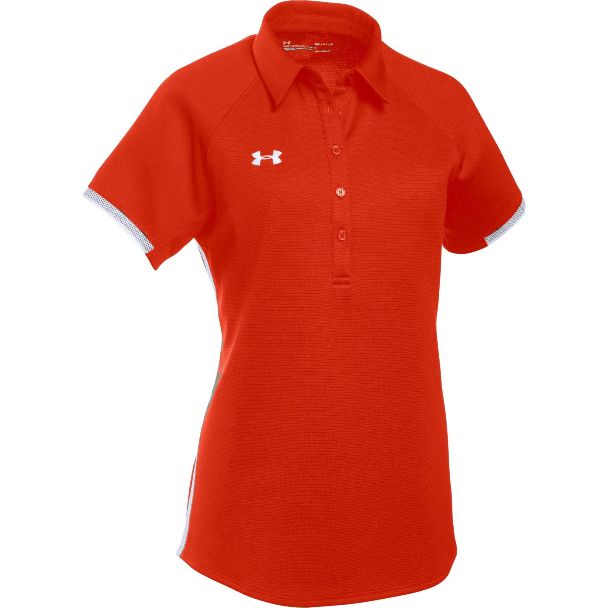 Under Armour Women's UA Rival Polo (Medium, Dark Orange-White) by Under Armour