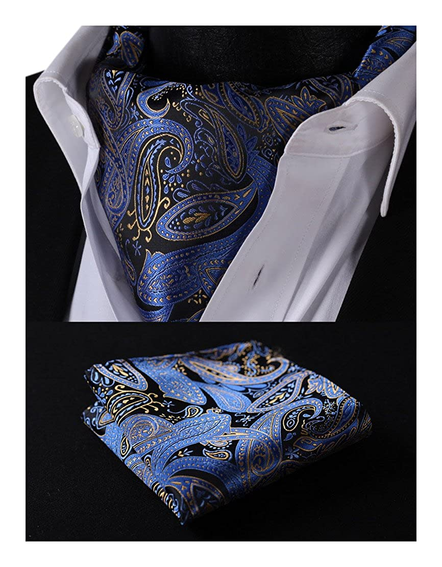 HISDERN Men's Paisley Floral Ascot Jacquard Woven Cravat Tie and Pocket Square Set RP706YS
