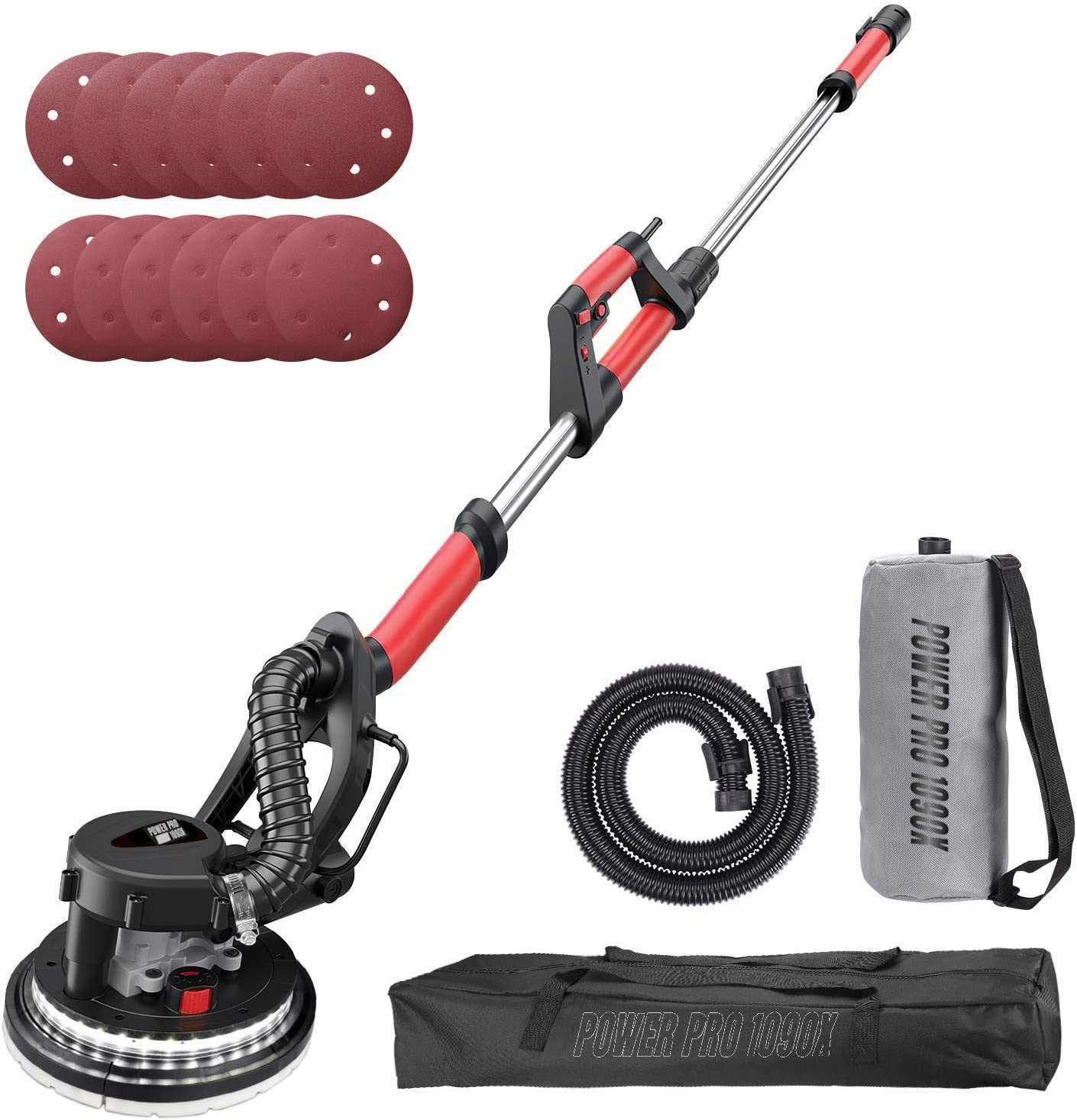 POWER PRO 1090X Electric Drywall Sander - Variable Speed 500-1800RPM, 800W, with Automatic Vacuum System for Dust Absorption, LED Light, and Carry Bag (1090X)