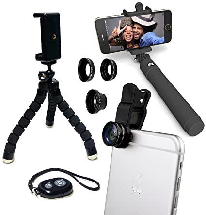 size 40 b3444 2e4c7 Eye-Pro iPhone Camera Accessories Lens Kit: Fisheye Wide Angle Macro  Lenses, Remote Shutter, Selfie Stick, Flexible Tripod & Phone Mount fits  iPhone 4 ...