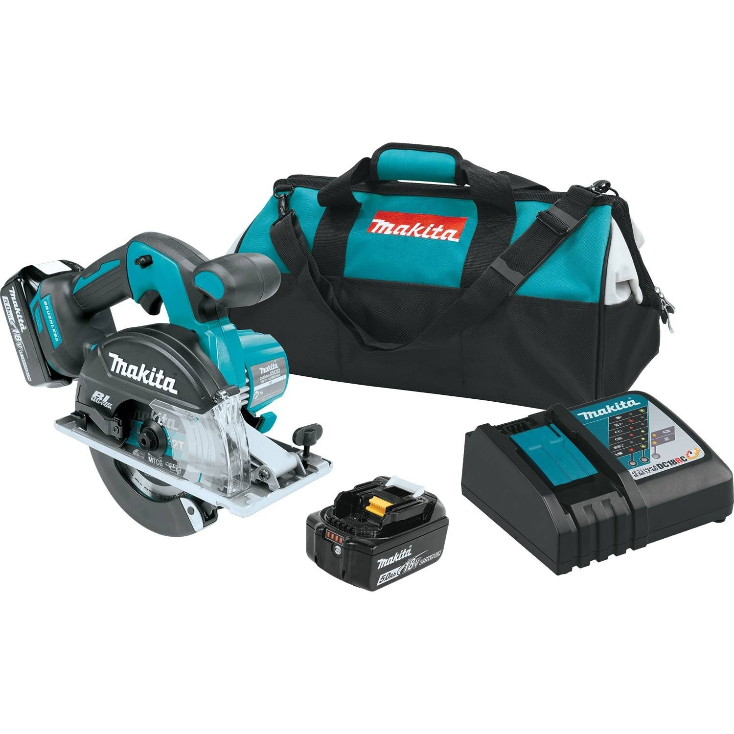Makita XSC02T 5.0 Amp 18V LXT Lithium-Ion Brushless Cordless 5-7 8 Metal Cutting Saw Kit