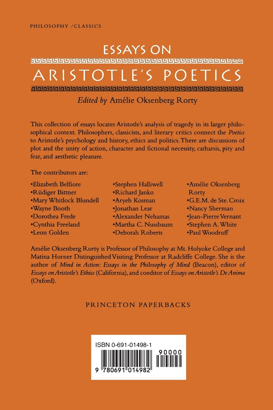 com essays on aristotle s poetics am atilde copy lie com essays on aristotle s poetics 9780691014982 amatildecopylie oksenberg rorty books
