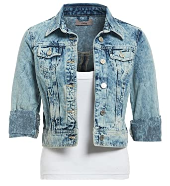 8bbdd54d7e2 SS7 Womens New Distressed Denim Jacket Ladies Blue Jean Jackets Size 8 10  12 14 16: Amazon.co.uk: Clothing