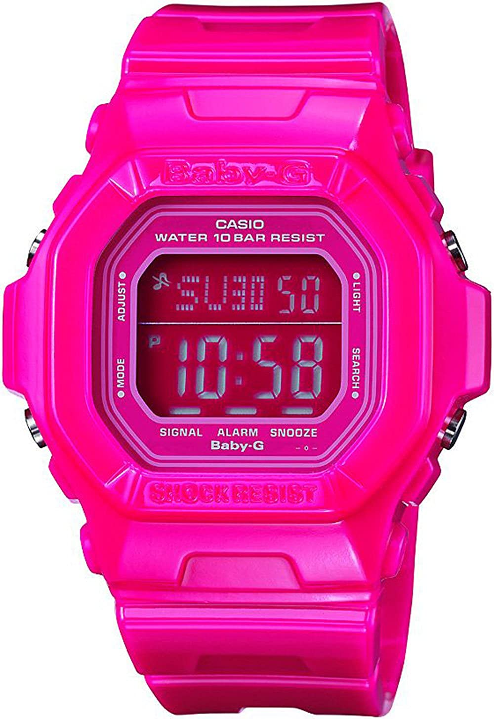 Casio Women s BG5601-4DR Baby-G Square Luminous Color Pink Digital Watch