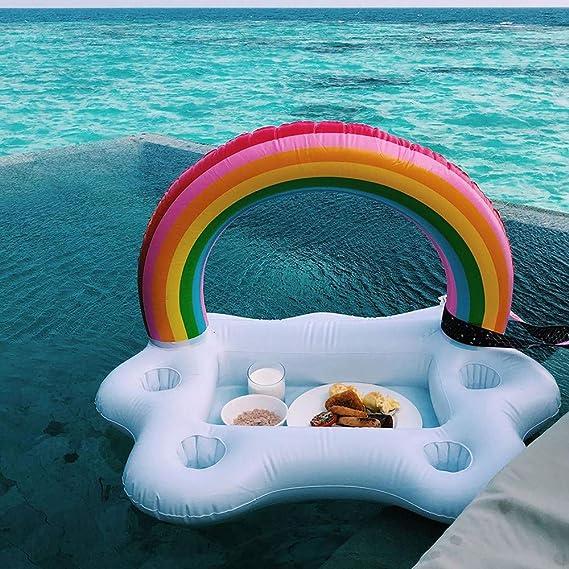 HWHSZ Flotador De La Piscina Cubo Rainbow Cloud Titular De La Taza Inflable Flotador Cerveza Beber Enfriador Mesa De Bar Bandeja Hawaiana Decoraciones para Fiestas: Amazon.es: Jardín