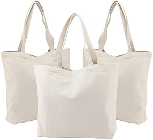 Reusable Grocery Shopping Totes Bags with Gusset Plain Travel Gym Yoga Sports