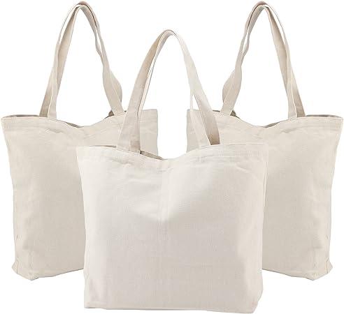 Bolsas de lona de Segarty, 3 unidades, lona natural grande, bolsas de la compra con refuerzo