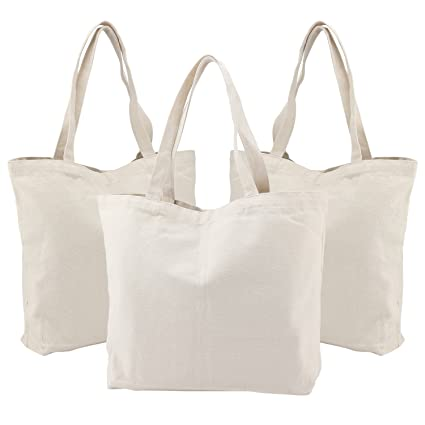 af2a96b4059 3PCS Canvas Totes Bags, Segarty 16.5''X13'' Natural Large Plain Bags to  Decorate, Reusable Grocery Shoulder Bulk Cotton Bags with Bottom Gusset for  ...