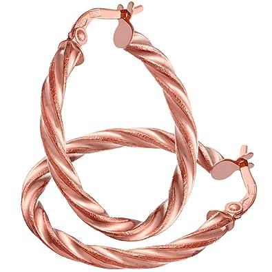 Citerna Women's 9 ct Rose Gold Twist Hoop Earrings Z0Cd4zweF