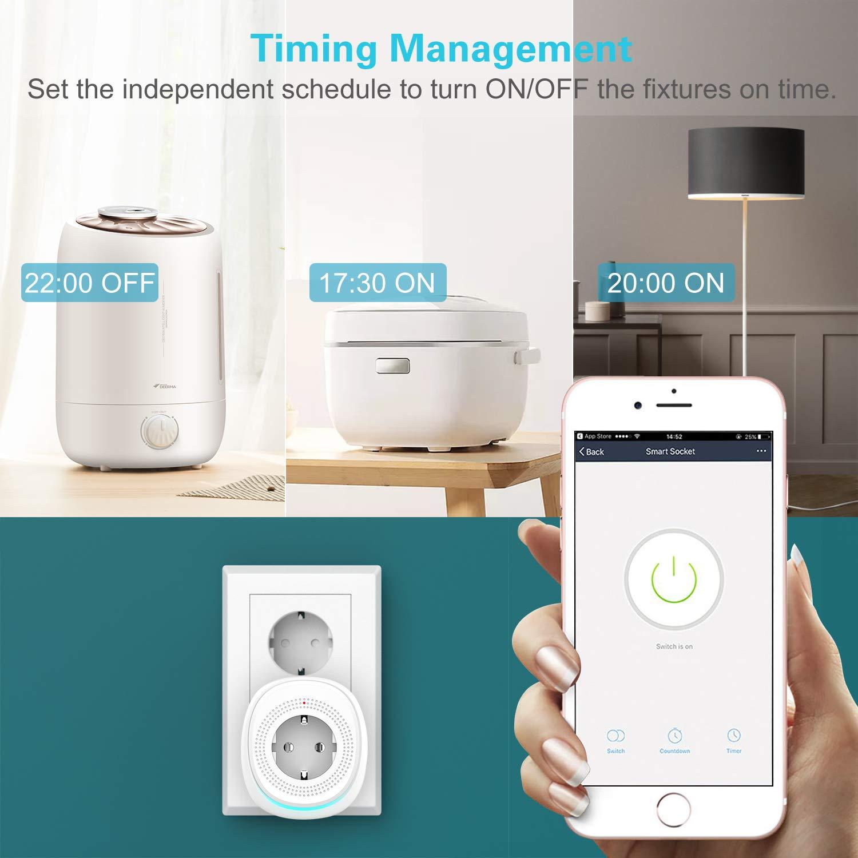 Smart Life App Controllo Remoto No Hub Richiesto MoKo Smart Plug WiFi Google Home Certificazione RoHS Compatibile con Alexa Echo Bianco Presa da Muro con 2 Porte USB 2,4 A