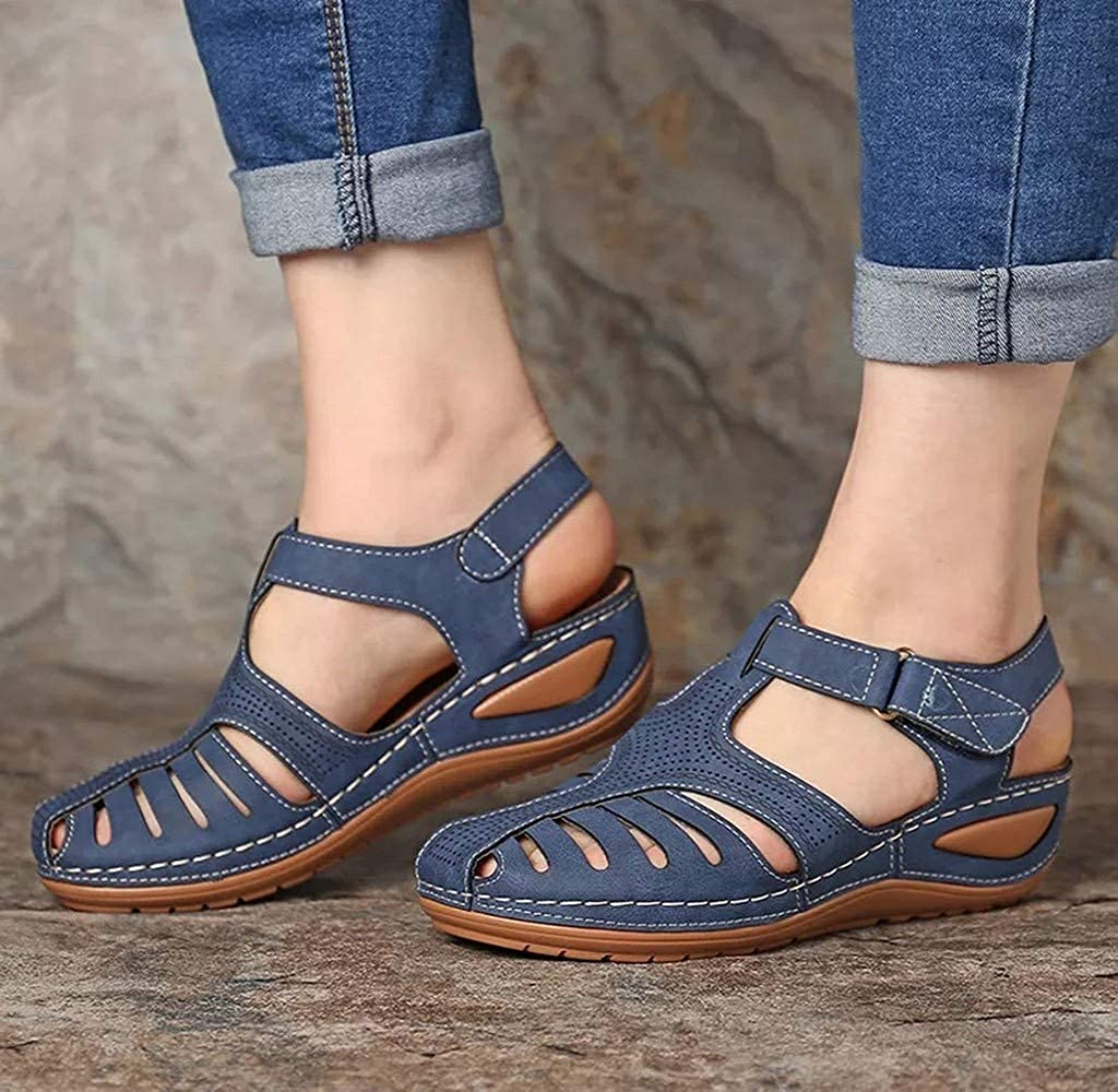 Womens Summer Wedges Soft Leather Sandals Comfortable Flat Shoes Non-Slip Casual Strap Hollow Closed Toe Sandals Koippimel