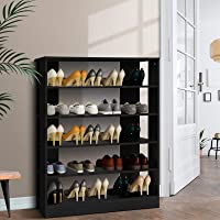 Artiss 30 Pairs Shoe Rack 6-Tier Wooden Shoe Storage Cabinet, Black