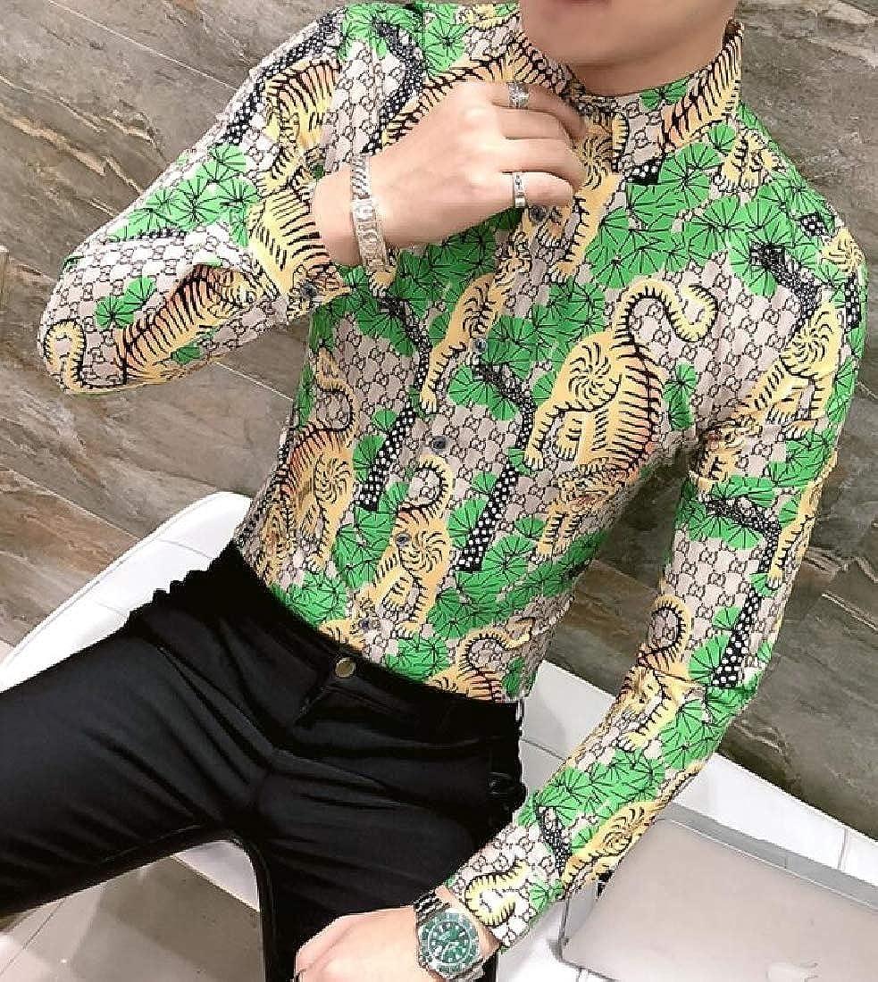 Fubotevic Mens Regular Fit Tiger Nightclub Floral Long Sleeve Button Down Dress Shirts
