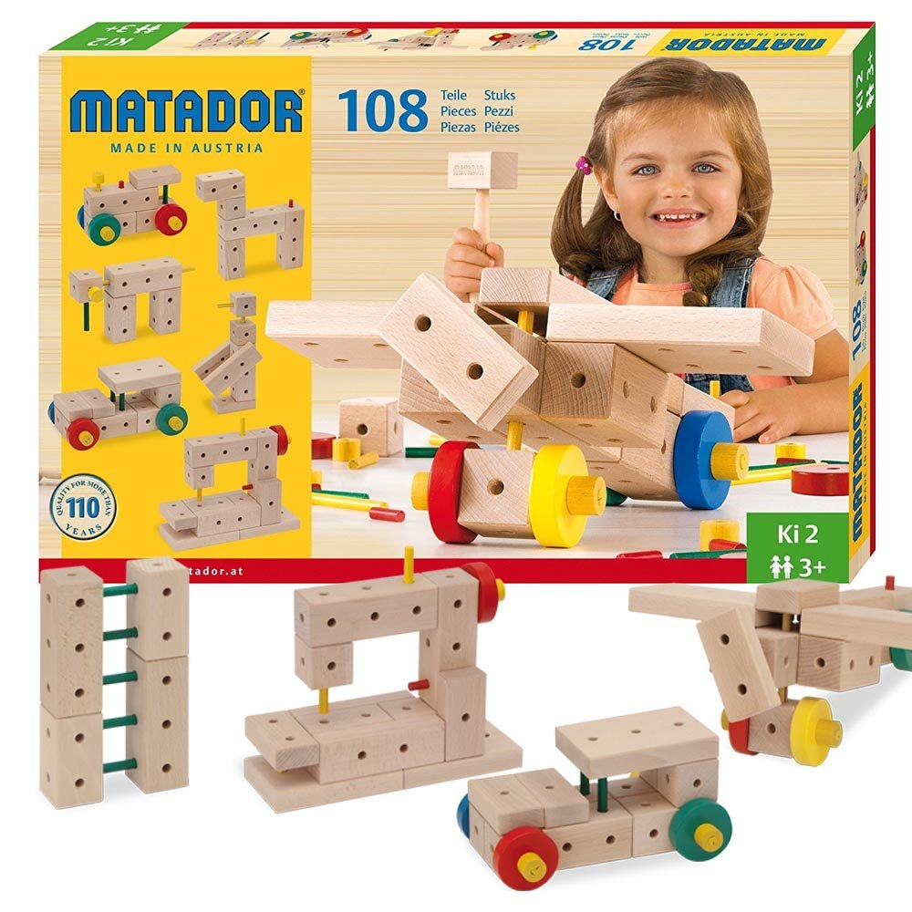 Matador Ki 2 - 108 Piece Basic 3-Dimensional Wooden Building Set for Ages 3-5 (Made in Austria)
