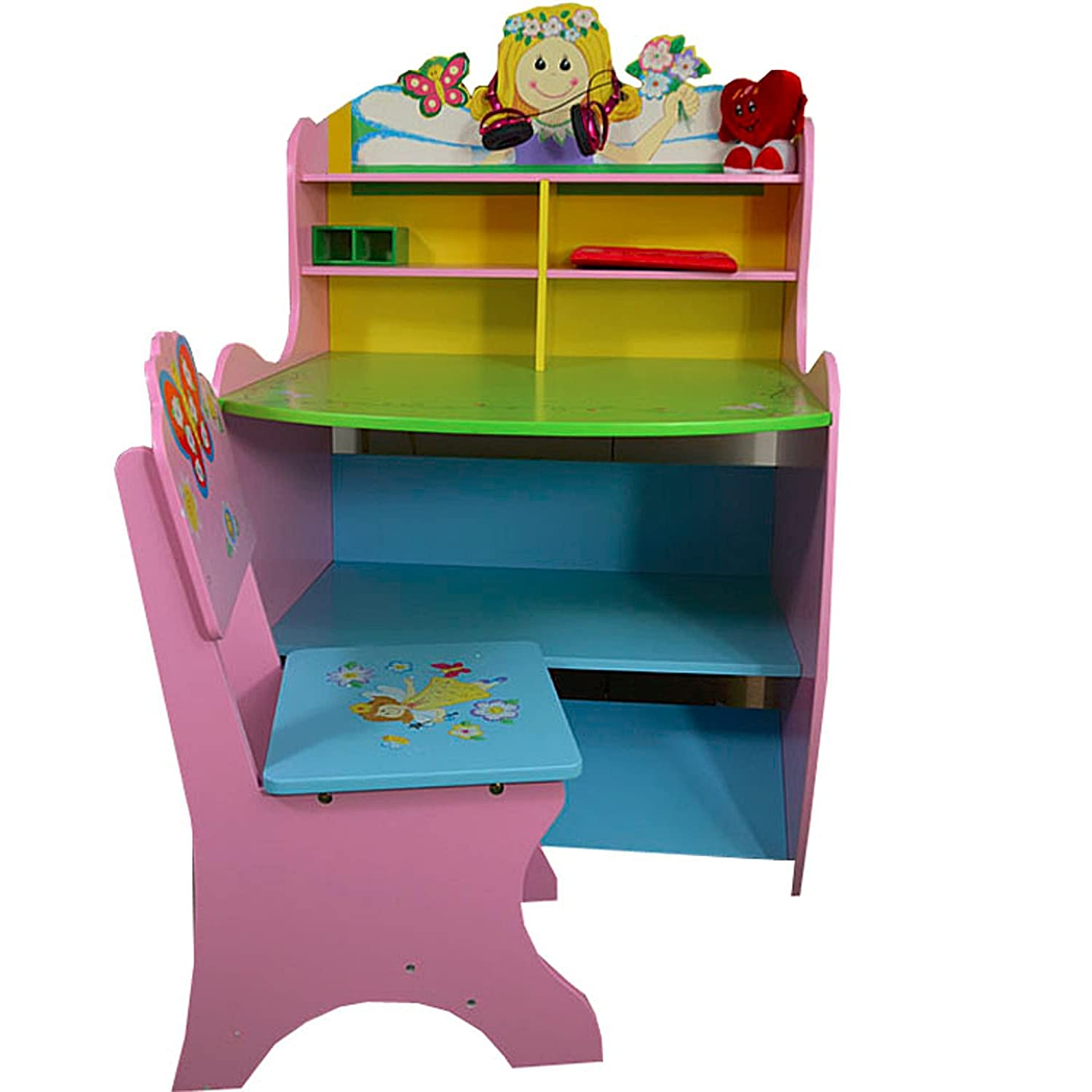 Antyki24 Wooden Children's Study Desk Computer Table Chair Fantasy Room Fairy Girls