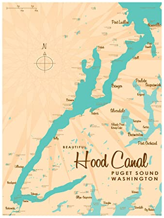 Hood Canal Washington Vintage-Style Map Art Print Poster by Lakebound (18