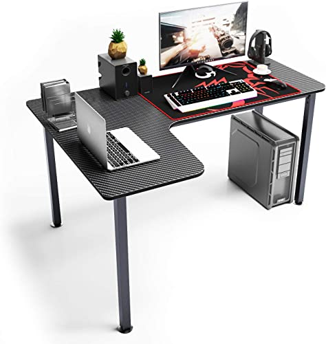 SogesGame Computer Desk L Shaped Corner Desk Gaming Desk Large Size Home Office Desk TN-L60-BK-S8-US