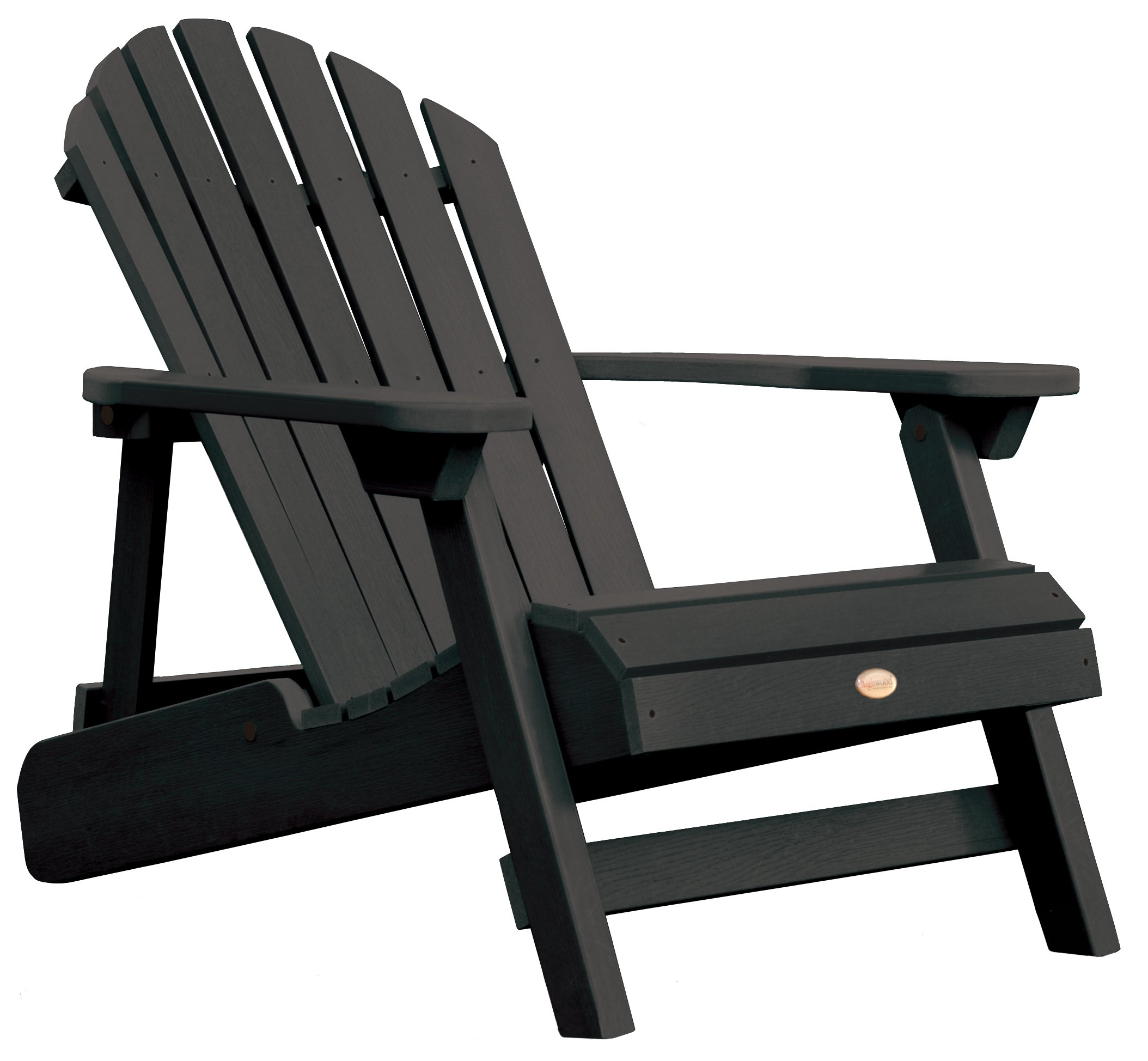 Highwood Hamilton Folding and Reclining Adirondack Chair, Adult Size, Black by Highwood