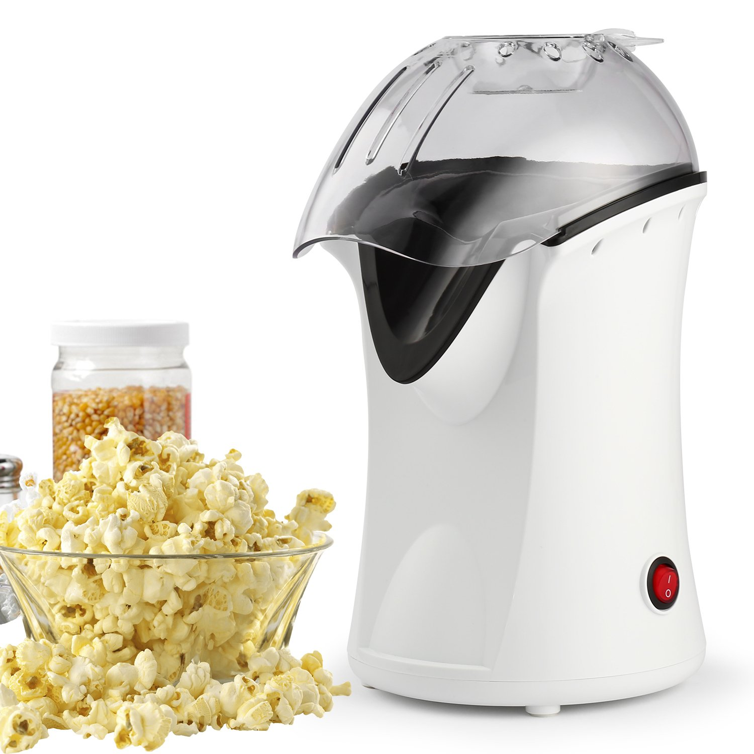 Popcorn Machine, 110V 1200W Healthy Hot Air Popcorn Maker, Best Home Popcorn Popper with Wide Mouth Design (White)
