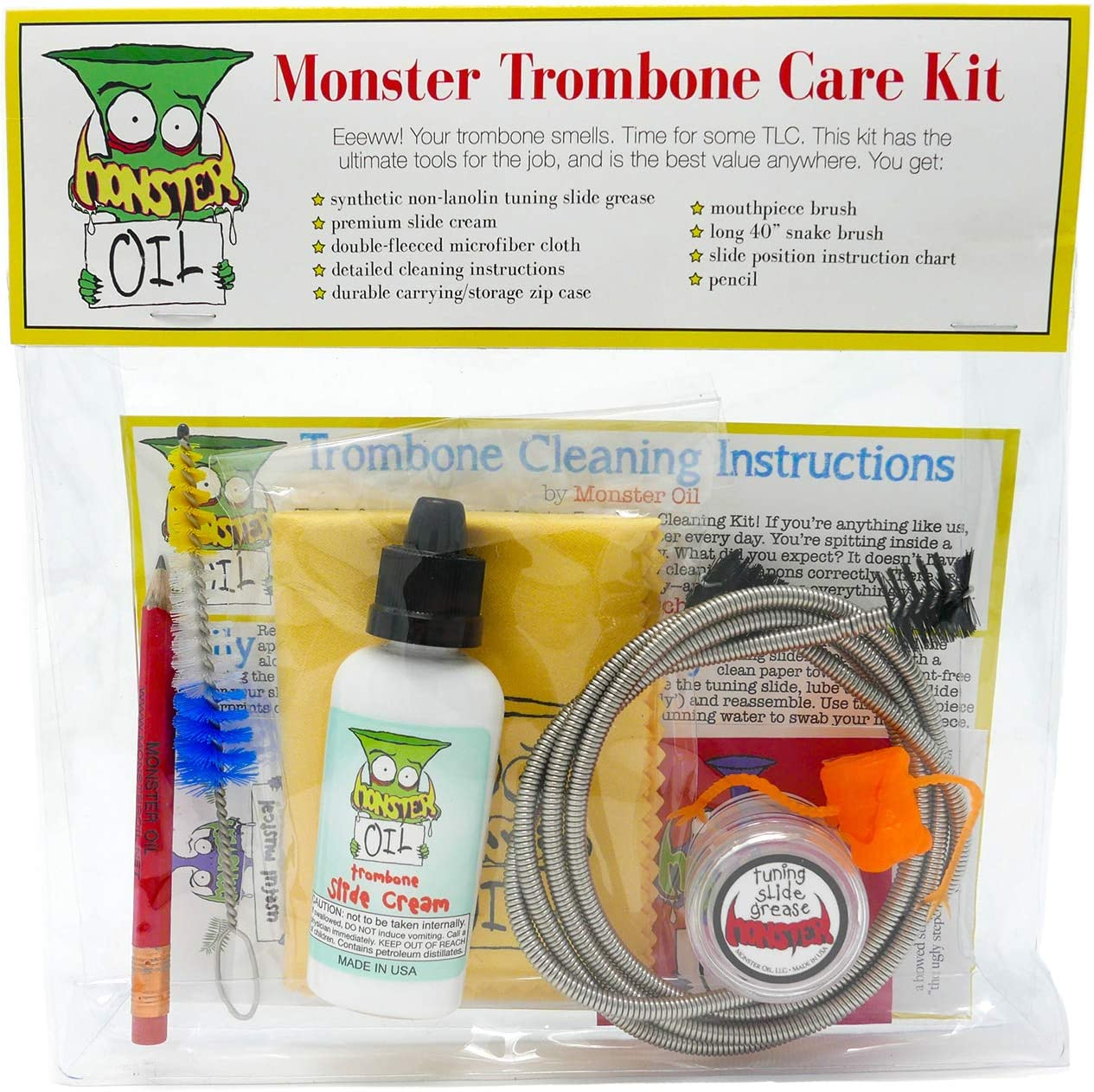 Monster Trombone Care and Cleaning Kit   Slide Cream, Slide Grease, Mouthpiece Brush. Everything You Need to Take Care of and Clean Your Trombone