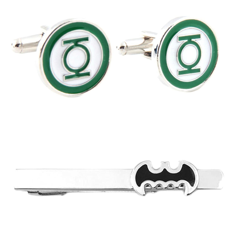 DC Comics - Green Lantern Cufflink & Batman Cutout Tiebar - Set of 2 Gift Set Wedding Superhero Logo Novelty Jewelry Series w/Gift Box
